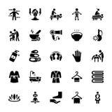 Ícones do vetor da massagem ajustados ilustração stock