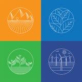 Ícones do vetor da paisagem & da natureza - moldes & linha abstratos do logotipo Foto de Stock