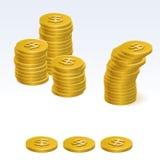 Ícones do vetor da pilha da moeda do dólar do ouro Foto de Stock Royalty Free
