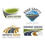 Ícones do vetor da pista ou da estrada da estrada ajustados ilustração royalty free