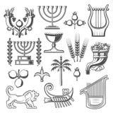 Ícones do vetor da religião da cultura e do judaism de Israel ilustração stock