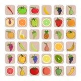 Ícones do vetor das frutas e legumes Imagens de Stock