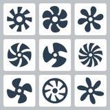 Ícones do vetor das hélices do fã Fotos de Stock Royalty Free