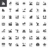 Ícones do vetor das paisagens da natureza ajustados ilustração do vetor