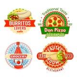 Ícones do vetor das refeições dos petiscos do restaurante do fast food Fotografia de Stock Royalty Free