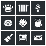 Ícones do vetor das utilidades ajustados Foto de Stock Royalty Free