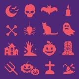 Ícones do vetor de Halloween ajustados Fotos de Stock Royalty Free