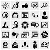 Ícones do vetor de SEO ajustados no cinza. Fotos de Stock Royalty Free
