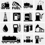 Ícones do vetor do óleo ajustados no cinza. ilustração do vetor
