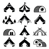 Ícones do vetor do acampamento glamoroso Imagem de Stock