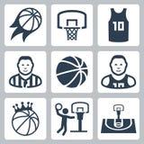 Ícones do vetor do basquetebol Imagem de Stock