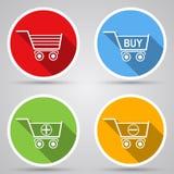 Ícones do vetor do carrinho de compras Fotos de Stock Royalty Free