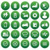 Ícones do vetor do carro do eco Imagens de Stock Royalty Free