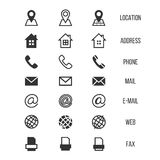 Ícones do vetor do cartão, casa, telefone, endereço, telefone, fax, Web, símbolos de lugar
