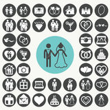 Ícones do vetor do casamento ajustados foto de stock royalty free