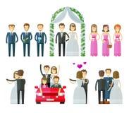 Ícones do vetor do casamento ajustados a união, nupcial, wed ou Fotografia de Stock Royalty Free