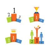 Ícones do vetor do conceito do vencedor, pódio, sucesso Foto de Stock