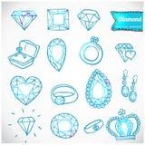 Ícones do vetor do diamante ajustados Foto de Stock