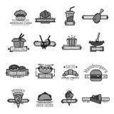 Ícones do vetor do fast food do marisco e da padaria do sushi ilustração do vetor