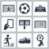 Ícones do vetor do futebol Foto de Stock Royalty Free