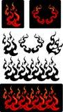 Ícones do vetor do incêndio e das flamas Fotografia de Stock