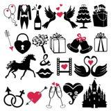 Ícones do vetor do projeto do casamento para a Web e o móbil Foto de Stock