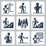 Ícones do vetor do viajante ilustração stock