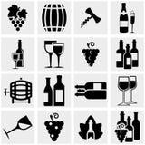 Ícones do vetor do vinho ajustados no cinza Foto de Stock Royalty Free