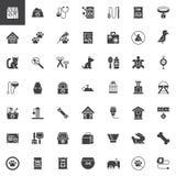 Ícones do vetor dos acessórios da loja de animais de estimação ajustados ilustração do vetor