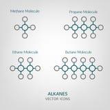 Ícones do vetor dos Alkanes Fotografia de Stock Royalty Free