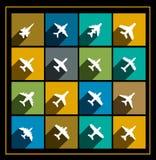 Ícones do vetor dos aviões Fotografia de Stock
