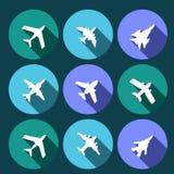 Ícones do vetor dos aviões Imagem de Stock Royalty Free