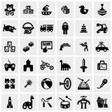 Ícones do vetor dos brinquedos ajustados no cinza Fotos de Stock