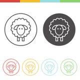 Ícones do vetor dos carneiros na linha estilo fina Imagem de Stock
