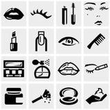 Ícones do vetor dos cosméticos ajustados no cinza. Fotos de Stock Royalty Free