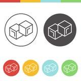 Ícones do vetor dos cubos de gelo Imagens de Stock Royalty Free