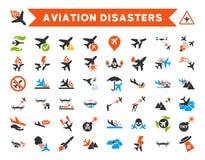 Ícones do vetor dos desastres da aviação Fotos de Stock