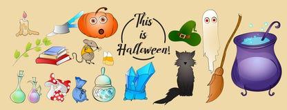 Ícones do vetor dos desenhos animados de Dia das Bruxas Abóbora, gato preto, rato, caldeirão, ingredientes da fermentação, fantas Fotografia de Stock Royalty Free