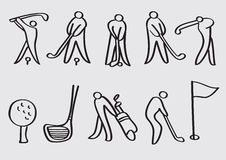 Ícones do vetor dos desenhos animados dos esportes do golfe ilustração do vetor