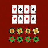 Ícones do vetor dos elementos do projeto do casino Jogos do casino Ace que joga c Fotografia de Stock Royalty Free
