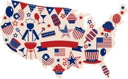 Ícones do vetor dos EUA para o Dia da Independência americano Imagem de Stock Royalty Free