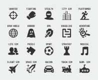 Ícones do vetor dos gênero do jogo de vídeo Fotografia de Stock