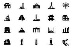 Ícones 4 do vetor dos monumentos Fotografia de Stock