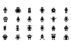 Ícones 3 do vetor dos robôs Fotos de Stock