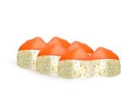 Ícones do vetor dos rolos de sushi Menu, arroz e marisco japoneses do alimento Alimento asiático Fotos de Stock Royalty Free