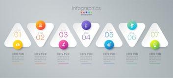 Ícones do vetor e do negócio do projeto de Infographics com 7 opções ilustração royalty free