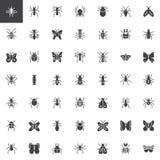 Ícones do vetor do erro e de insetos ajustados ilustração royalty free
