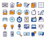 Ícones do vetor do esboço para a Web e o móbil Dilua o curso de 3 pixéis 320x270mm Fotos de Stock