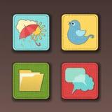 Ícones do vetor para apps no estilo de matéria têxtil Foto de Stock Royalty Free