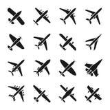 Ícones do vetor plano Símbolos da mosca e do jato Sinais da silhueta da aviação do avião isolados no fundo branco ilustração do vetor